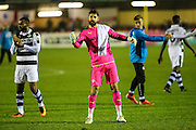 Forest Green Rovers goalkeeper Sam Russell(23) applauds the supporters at the end go the match during the Vanarama National League match between Solihull Moors and Forest Green Rovers at the Automated Technology Group Stadium, Solihull, United Kingdom on 25 October 2016. Photo by Shane Healey.