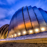 Kauffman Center for the Performing Arts at dusk after snowfall, downtown Kansas City, Missouri.