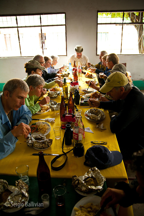 Typical dishes are served at La Perla restaurant in Rurrenabaque, Beni, Bolivia.