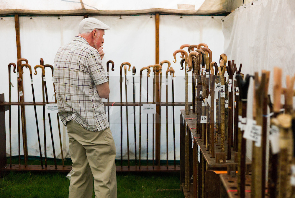 © Licensed to London News Pictures.12/08/15<br /> Danby, UK. <br /> <br /> A man peruses a display of hand crafted walking sticks at the 155th Danby Agricultural Show in the Esk Valley in North Yorkshire. <br /> <br /> The popular agricultural show attracts competitors and visitors from all over the surrounding area to this annual showcase of country life. <br /> <br /> Photo credit : Ian Forsyth/LNP