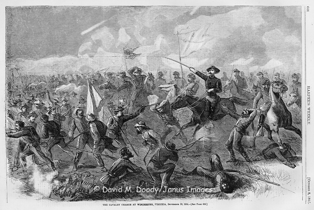 The Union Cavalry charge at Winchester. Civil War Battle of Winchester, Virginia September 19th 1864.  Illustration from Harper's Weekly, October 8, 1864