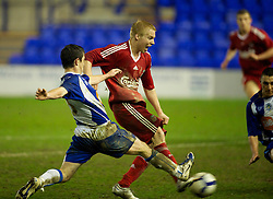 BIRKENHEAD, ENGLAND - Thursday, March 25, 2010: Liverpool's Lauri Dalla Valle sees his injury time shot saved during the FA Premiership Reserves League (Northern Division) match against Wigan Athletic at Prenton Park. (Photo by David Rawcliffe/Propaganda)