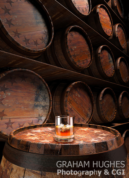Rye Whisky In Glass On Barel Infront Of Wall Of Barrels With Circle Of Stars On Them.
