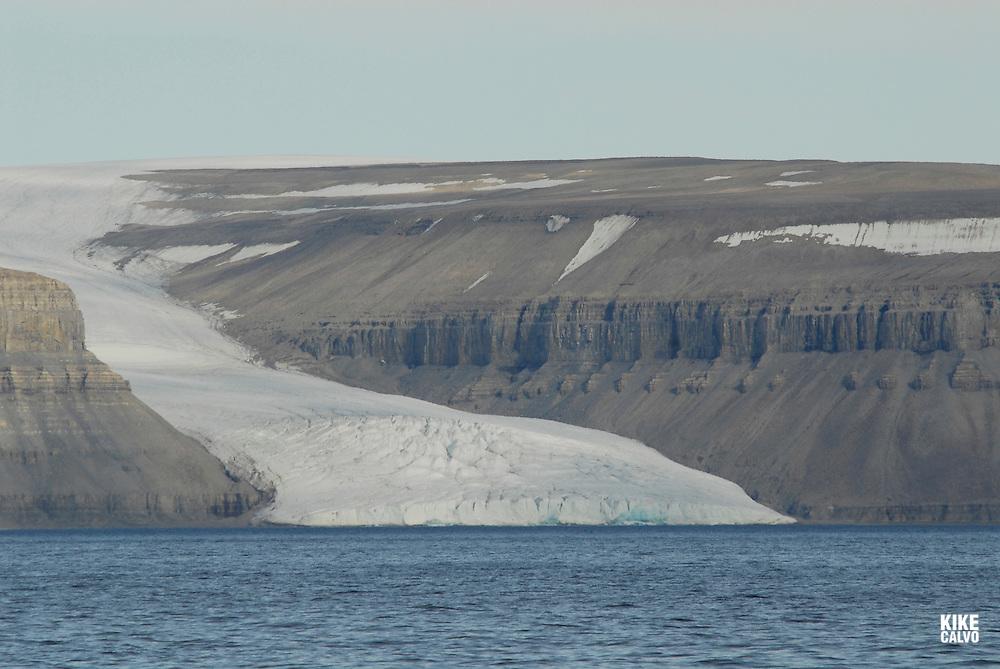Glacier at Maxwell Bay on Devon Island.  Lancaster Sound. HIgh Arctic. Canada<br />