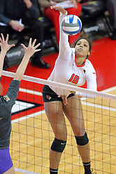 18 November 2016:  Lexi Varga strikes the ball hard and fast past the Panthers front row during an NCAA women's volleyball match between the Northern Iowa Panthers and the Illinois State Redbirds at Redbird Arena in Normal IL (Photo by Alan Look)