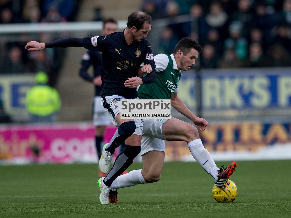 Falkirk v Hibernian   SPFL season 2015-2016  <br /> <br /> John McGinn (Hibernian) and Mark Kerr (Falkirk) during the Ladbrokes Championship match between Falkirk v Hibernian at Falkirk Stadium on Sunday 17 January 2016<br /> <br /> Picture: Alan Rennie