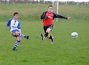 Padraic Daly Kiltullagh Pioneers and Davey Mahon Kinvara FC in Kiltullagh, Galway. Photo:Andrew Downes