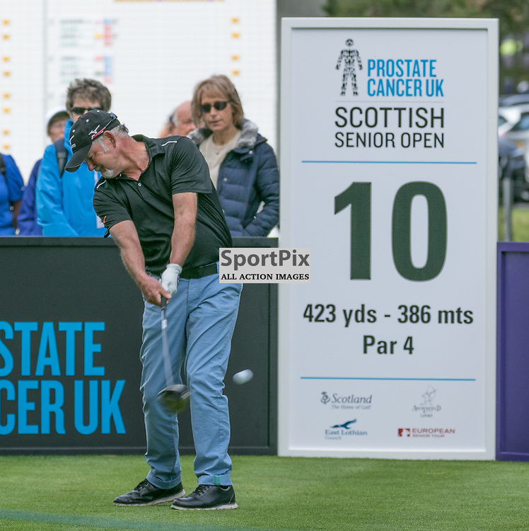 Gordon BRAND JNR (Scotland) tees off at his first hole.   Prostate Cancer UK Scottish Senior Open, 28th August 2015