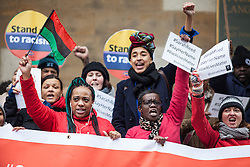 © Licensed to London News Pictures. 19/03/2016. London, UK. Demonstrators campaigning for Sarah Reed, who died in Holloway Prison in January 2016. Thousands march through central London on UN anti-racism day to demand that the British government accept a greater share of refugees seeking asylum in Europe. Photo credit : Rob Pinney/LNP