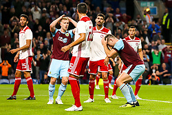 Sam Vokes of Burnley and Ben Mee of Burnley cut frustrated figures - Mandatory by-line: Robbie Stephenson/JMP - 30/08/2018 - FOOTBALL - Turf Moor - Burnley, England - Burnley v Olympiakos - UEFA Europa League Play-offs second leg