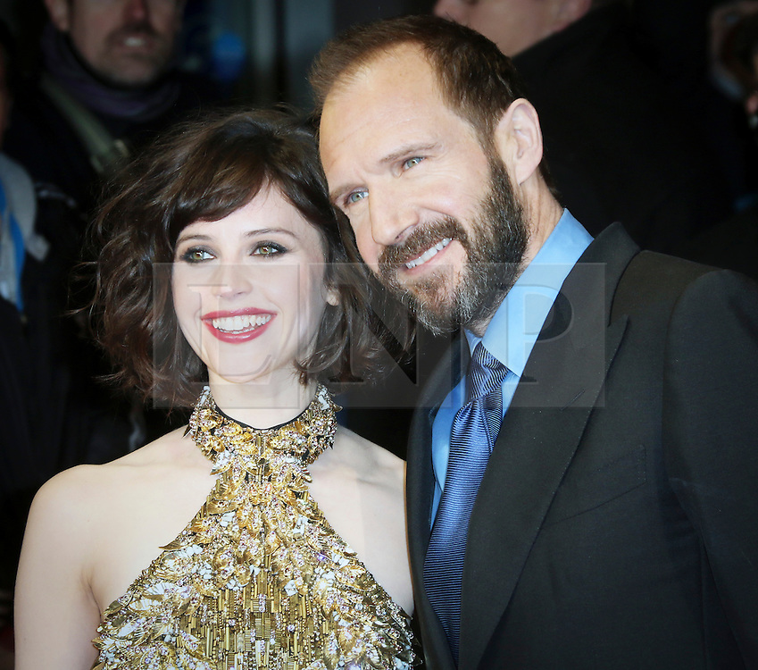 © London News Pictures. Felicity Jones; Ralph Fiennes, The Invisible Woman - UK film premiere, Odeon Kensington High Street, London UK, 27 January 2014. Photo credit: Richard Goldschmidt/LNP