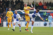 Bristol Rovers Jake Clarke-Salter(36) and Millwall's Steve Morison(20) challenge for the ball during the EFL Sky Bet League 1 match between Bristol Rovers and Millwall at the Memorial Stadium, Bristol, England on 30 April 2017. Photo by Shane Healey.