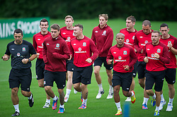 CARDIFF, WALES - Monday, August 13, 2012: Wales' captain Aaron Ramsey, Darcy Blake, Robert Earnshaw, Gareth Bale, Craig Bellamy during a training session at the Vale of Glamorgan ahead of the international friendly match against Bosnia-Herzegovina. (Pic by David Rawcliffe/Propaganda)