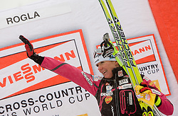 Third placed Petra Majdic of Slovenia at Flower ceremony after Ladies 1.4 km Free Sprint Competition of Viessmann Cross Country FIS World Cup Rogla 2009, on December 19, 2009, in Rogla, Slovenia. (Photo by Vid Ponikvar / Sportida)