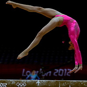 Kyla Ross, USA, in action on the beam during the Women's Artistic Gymnastics podium training at North Greenwich Arena during the London 2012 Olympic games preparation at the London Olympics. London, UK. 26th July 2012. Photo Tim Clayton