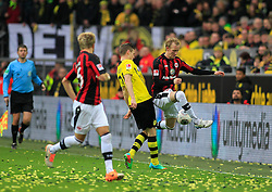 15.02.2014, Signal Iduna Park, Dortmund, GER, 1. FBL, Borussia Dortmund vs Eintracht Frankfurt, 21. Runde, im Bild Jan Rosenthal (Eintracht Frankfurt #7) im Zweikampf gegen Lukas Piszczek (Borussia Dortmund #26), Aktion, Action // during the German Bundesliga 21th round match between Borussia Dortmund and Eintracht Frankfurt at the Signal Iduna Park in Dortmund, Germany on 2014/02/15. EXPA Pictures © 2014, PhotoCredit: EXPA/ Eibner-Pressefoto/ Schueler<br /> <br /> *****ATTENTION - OUT of GER*****