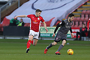 7 Tom Pett for Lincoln City and 8 James Jones for Crewe Alexander during the EFL Sky Bet League 2 match between Crewe Alexandra and Lincoln City at Alexandra Stadium, Crewe, England on 26 December 2018.