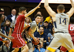 Jan 6, 2018; Morgantown, WV, USA; West Virginia Mountaineers forward Teddy Allen (13) looks to pass from underneath the basket during the first half against the Oklahoma Sooners at WVU Coliseum. Mandatory Credit: Ben Queen-USA TODAY Sports