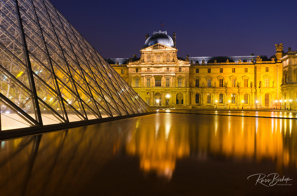 Louvre Palace and Pyramid at night, Louvre Museum, Paris, France