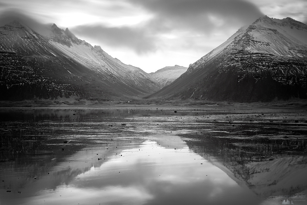Long exposure using a Tiffen Apex 10-stop ND filter, taken at a fjord in south-eastern Iceland