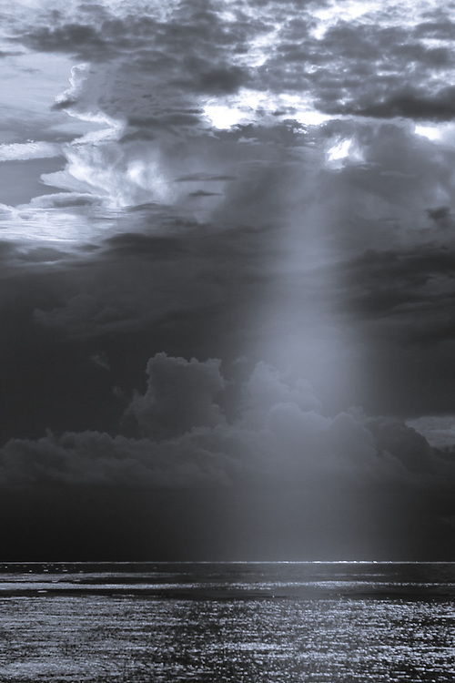 Black and White Photograph of a Dramatic Sun Ray Over Gulf of Mexico (2008)