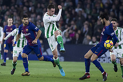 January 21, 2018 - Seville, Spain - FABIAN of Betis (L ) vies for the ball with ANDRE GOMES of Barcelona (R ) during the La Liga soccer match between Real Betis and FC Barcelona at Benito Villamarin Stadium (Credit Image: © Daniel Gonzalez Acuna via ZUMA Wire)