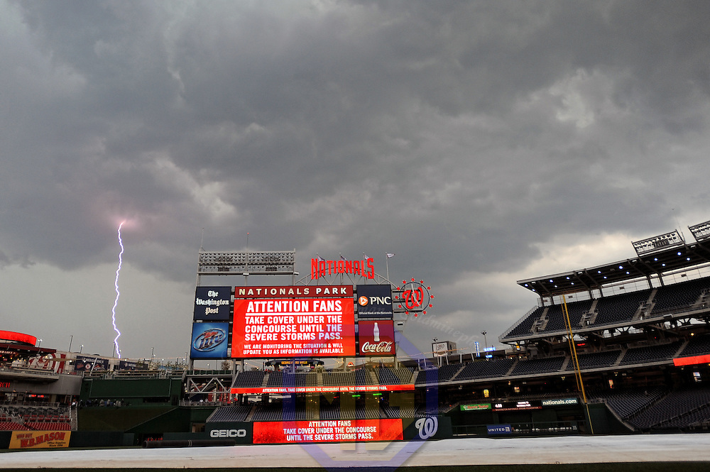 18 July 2012:  A general view of Nationals Park in Washington, D.C. as a lightning bolt  strikes the ground prior to the game between the New York Mets and the Washington Nationals.