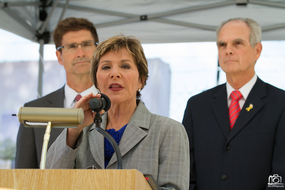 Sen. Barbara Boxer (D-CA) addresses the media after touring the construction site of the Berryessa Extension Project in San Jose, Calif., on Aug. 21, 2012.  Photo by Stan Olszewski/SOSKIphoto.