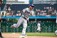 May 28, 2018 - Pittsburgh, PA, U.S. - PITTSBURGH, PA - MAY 28:   Chicago Cubs third baseman Kris Bryant (17) rounds third base in the ninth inning during an MLB game between the Pittsburgh Pirates and Chicago Cubs on May 28, 2018 at PNC Park in Pittsburgh, PA. (Photo by Shelley Lipton/Icon Sportswire) (Credit Image: © Shelley Lipton/Icon SMI via ZUMA Press)