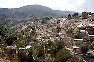 Houses destroyed by the 7.0 earthquake in Port-au-Prince, Haiti on Feb. 2, 2010