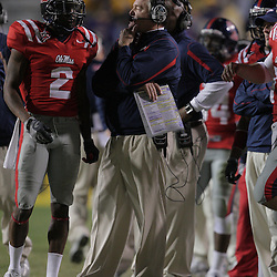 22 November 2008: Ole Miss head coach Houston Nutt talks with Mississippi wide receiver Mike Wallace (2) on the sideline during the Ole Miss Rebels 31-13 victory over the LSU Tigers at Tiger Stadium in Baton Rouge, LA.