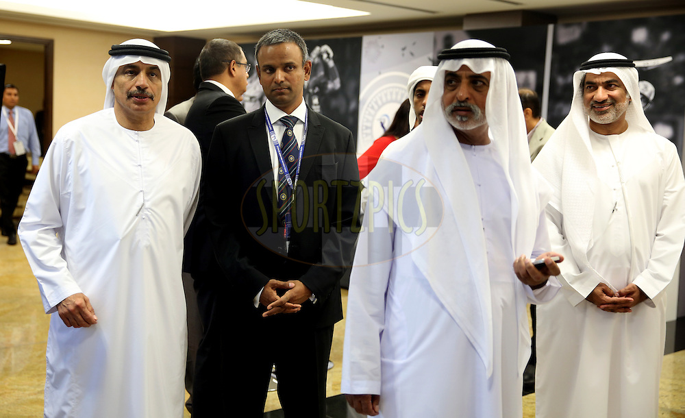 His Excellency Shaikh Nahayan Mubarak(2L) and IPL COO Sundar Raman(2R)  during match 20 of the Pepsi Indian Premier League Season 2014 between the Mumbai Indians and the Sunrisers Hyderabad held at the Dubai International Stadium, Dubai, United Arab Emirates on the 30th April 2014<br /> <br /> Photo by Sandeep Shetty / IPL / SPORTZPICS