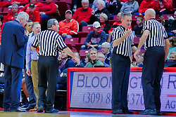 NORMAL, IL - November 03:  Grey Gionanine, Tom O'Neill Jr. Ford Branch Jr. and Scott Tierney during a college basketball game between the ISU Redbirds  and the Augustana Vikings on November 03 2018 at Redbird Arena in Normal, IL. (Photo by Alan Look)