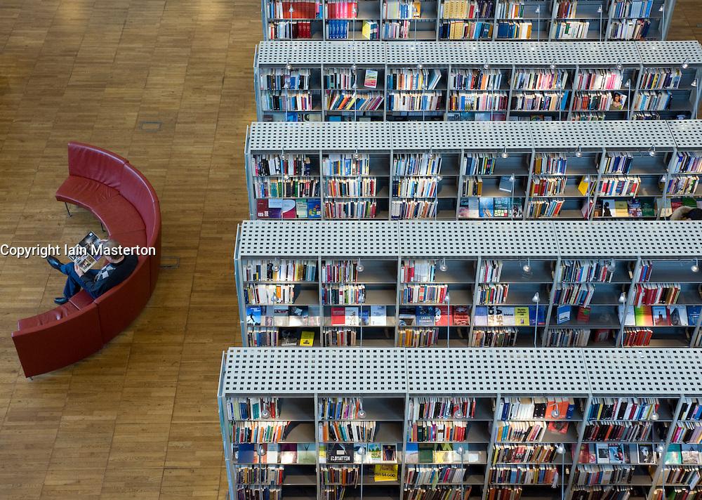 Interior of modern public library in Malmo Sweden