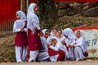 Muslim schoolgirls, Pahalgam, Kashmir, Jammu and Kashmir State, India.