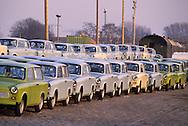GDR, German Democratic Republic, Potsdam, brand new Trabant cars.....DDR, Deutsche Demokratische Republik, Potsdam, fabrikneue Trabanten, Trabis...Januar/January 1990