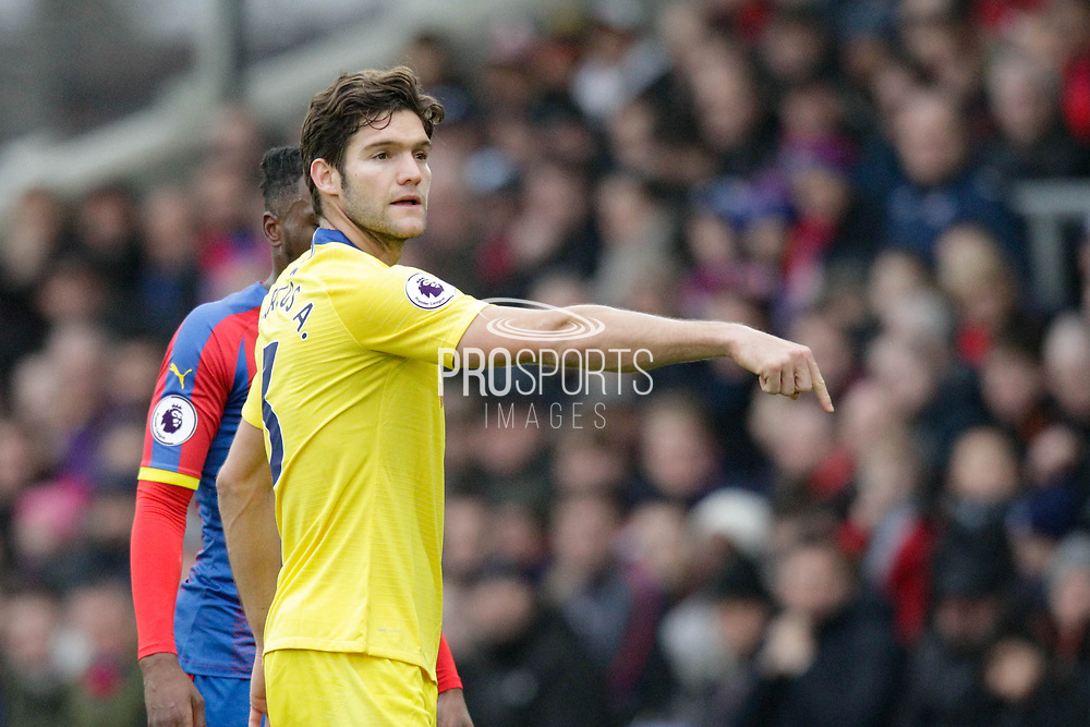 Chelsea defender Marcos Alonso (3) signals where he wants the corner placed during the Premier League match between Crystal Palace and Chelsea at Selhurst Park, London, England on 30 December 2018.