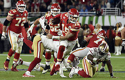 February 2, 2020, Miami Gardens, FL, USA: Kansas City Chiefs quarterback Patrick Mahomes (15) scrambles for a big gain in the fourth quarter of Super Bowl 54 on Sunday, Feb. 2, 2020 at Hard Rock Stadium in Miami Gardens, FL. (Credit Image: © TNS via ZUMA Wire)