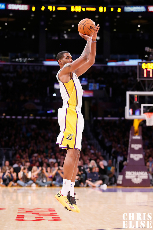 17 November 2013: Los Angeles Lakers power forward Shawne Williams (3) takes a three point jumpshot during the Los Angeles Lakers 114-99 victory over the Detroit Pistons at the Staples Center, Los Angeles, California, USA.