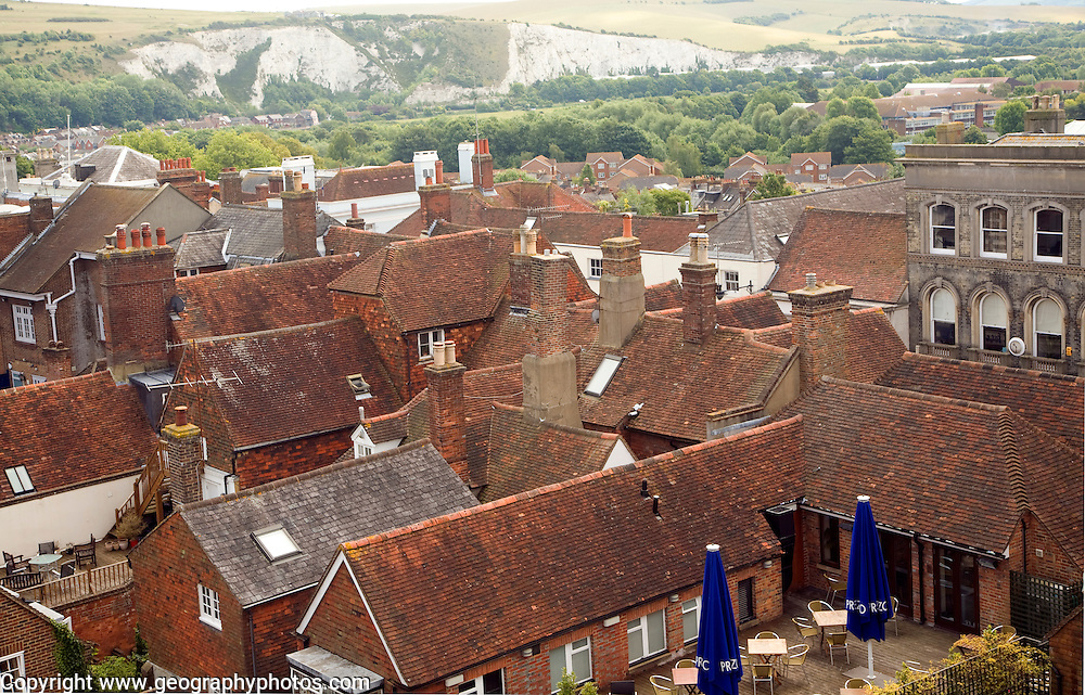 View over rooftops of buildings, Lewes, East Sussex, England