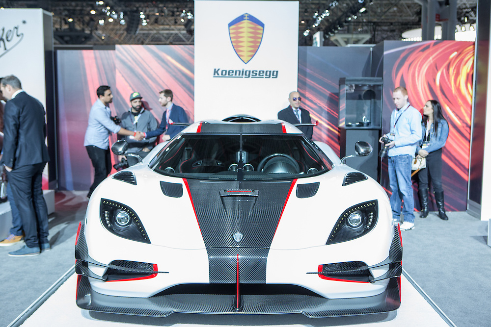 """New York, NY, USA-23 March 2016. Koenigsegg, a Swedish maker of sportscars, showed its One:1, considered by them to be the world's first """"megacar."""" The cars are hand built, and have a 1:1 hp to kg ratio."""