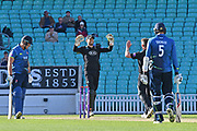 Ben Foakes (Surrey) celebrates the last wicket of Matt Coles (Kent) for a win during the Royal London 1 Day Cup match between Surrey County Cricket Club and Kent County Cricket Club at the Kia Oval, Kennington, United Kingdom on 12 May 2017. Photo by Jon Bromley.