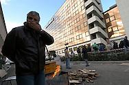 "Rome, Italy 23/01/2006: Workers of the Italian airline company ""Alitalia"" protest outside the maintenaince area of the Fiumicino Airport ""Leonardo da Vinci"".©Andrea Sabbadini"
