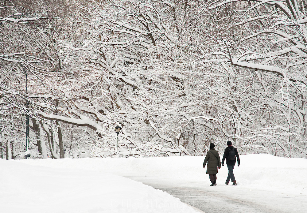 Couple walking in Central Park, NYC in Winter