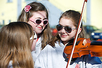 Musicians  Kate Ryan, Grace Feeney and Eva Acheson from Sligo Music School await their turn to play at the Annual Coole Music Orchestra Festival hosted by Coole Music  in the Community Centre, Gort, Co. Galway . The 2012 Festival was launched by Minister Ciaran Cannon, TD, and featured two concerts, each with a.very exciting musical programme. Now in its fifth year, the Festival is the only event of its kind in the West and has become a highlight on the calendars of young orchestras.throughout the country. This year's festival will feature its first international act, with Stockholm's Ungdomssinfonietta joining the line-up. Three new musical compositions will be premiered during the event, and the music will range from classical to show themes to arrangements of traditional Irish music. Photo:Andrew Downes photography