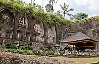 Ancient carved cliff Hindu altars Gunung Kawi, Gianyar Regency, Bali, Indonesia