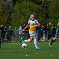 3rd year midfielder Nikita Senko (9) of the Regina Cougars during the Women's Soccer Homeopener on September 10 at U of R Field. Credit: Arthur Ward/Arthur Images