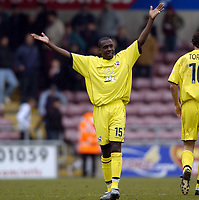 Picture: Henry Browne.<br /> Date: 09/04/2005.<br /> Northampton Town v Scunthorpe United Coca-Cola League 2.<br /> Cleveland Taylor celebrates Scunthorpe's victory at full time.
