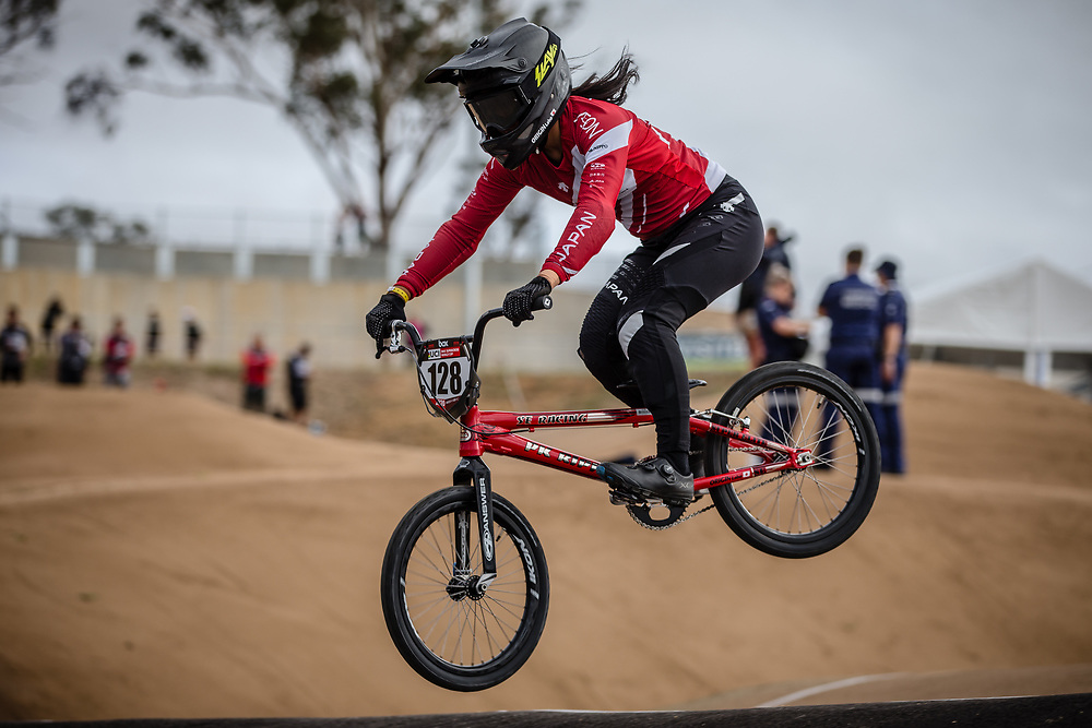 #128 (YABUTA Jui) JPN at Round 3 of the 2020 UCI BMX Supercross World Cup in Bathurst, Australia.