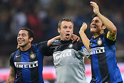 07.10.2012, Giuseppe Meazza Stadion, Mailand, ITA, Serie A, AC Mailand vs Inter Mailand, 7. Runde, im Bild 07.10.2012, Giuseppe Meazza Stadion, Mailand, ITA, Serie A, AC Mailand vs Inter Mailand, 7. Runde, im Bild Esultanza Walter Gargano, Antonio Cassano e Javier Zanetti // during the Italian Serie A 7th round match between AC Milan and Inter Milan at the Giuseppe Meazza Stadium, Milan, Italy on 2012/10/07. EXPA Pictures © 2012, PhotoCredit: EXPA/ Insidefoto/ Andrea Staccioli..***** ATTENTION - for AUT, SLO, CRO, SRB, SUI and SWE only *****
